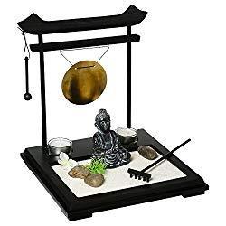 Coffret Jardin ZEN Bouddha sur un plateau en bois avec gong,